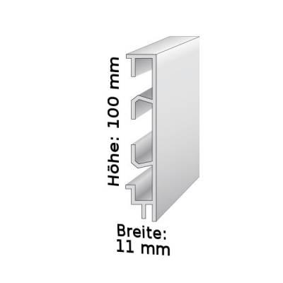 Sockelleiste mit Kabelkanälen, Höhe: 1 mm, Breite: 11 mm, Aluminium (silber eloxiert), Typ: 465 (Default)