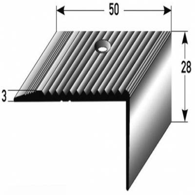 "Treppenkante ""Gela"" / Winkelprofil 28 mm x 50 mm Aluminium eloxiert"