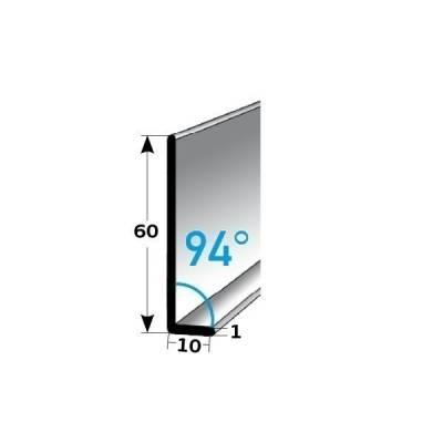 Fußleiste / Sockelleiste (TYP 6) aus Edelstahl, Höhe: 6 mm, mit verschiedenen Breiten, Materialstärken und Befestigungsarten, Winkel: 94°-gebohrt-1 mm-1 mm (Default)