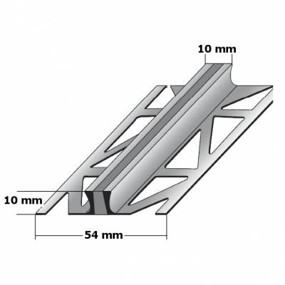 """Fliesenprofil """"Overvecht"""" Dehnungsfugenprofil / Trennschiene für Fliesen mit grauer Silikoneinlage, Höhe: 2 - 25 mm, Breite: 54 mm, aus Aluminium-aluminiumfarbend-1 mm (Default)"""