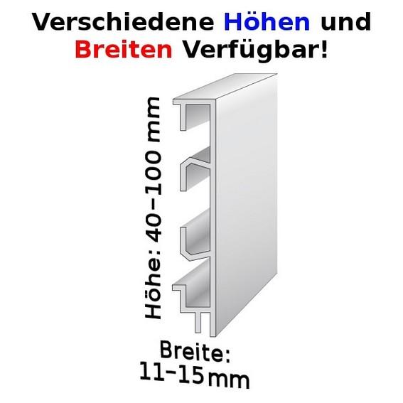 Sockelleiste mit Kabelkanälen, Höhe: 40 - 100 m...