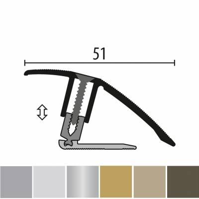 Küberit 886 PPS-Champion flex | flexibles Ausgleichsprofil | Parkettprofil | Höhe:7-23 mm