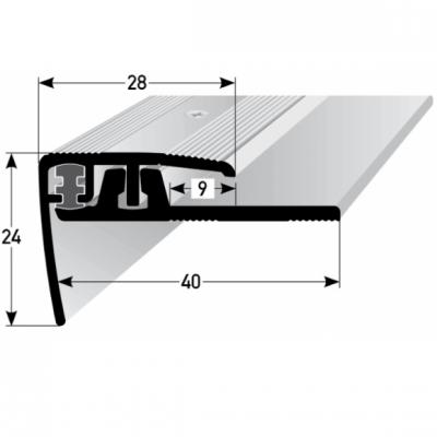 "Klick-Treppenkante ""Lakeview"", Höhe 4 - 7 mm, 28 mm breit, 2-teilig, Aluminium eloxiert"