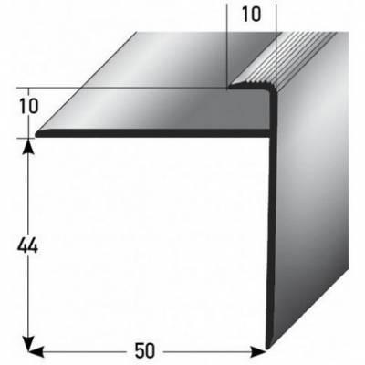 """Einschubprofil """"Castlebar"""" mit Nase für Parkett / Laminat, Einfasshöhe 1 mm, Aluminium eloxiert, gebohrt (Default)"""
