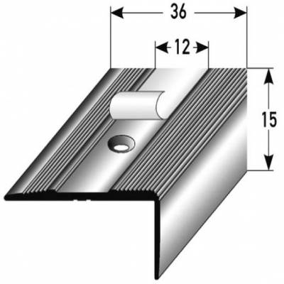 "Treppenkante / Treppenkanten Profile ""Milena"" / Treppenwinkel Profil 15 x 36 mm Aluminium eloxiert"
