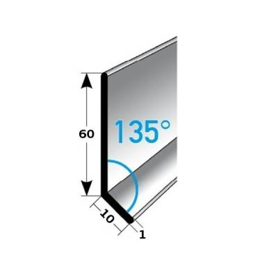Fußleiste / Sockelleiste (TYP 6) aus Edelstahl, Höhe: 6 mm, mit verschiedenen Breiten, Materialstärken und Befestigungsarten, Winkel: 135°-gebohrt-1 mm-1 mm (Default)