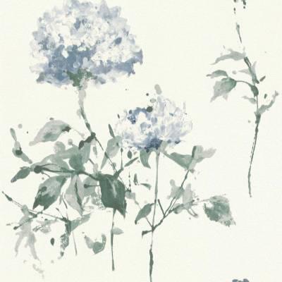 Rasch Cato | 801521 | Vliestapete Blumen | 0.53 m x 10.05 m | Blau