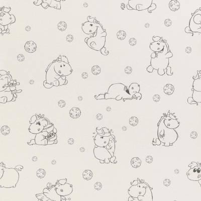 Rasch Pummeleinhorn | 212105 | Papiertapete Muster & Motive | 0.53 m x 10.05 m | Weiß