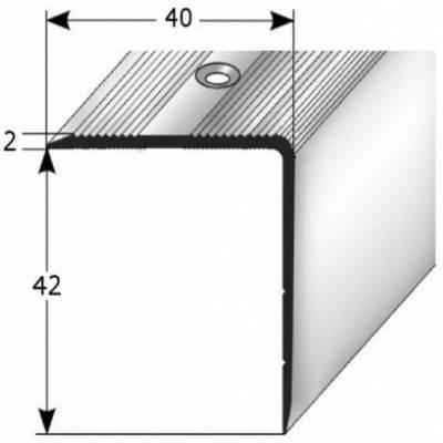 """Treppenkante """"Forli"""", Treppenkantenprofil / Winkelprofil (Größe 4 mm x 42 mm) aus Aluminium eloxiert, gebohrt, von Auer Metall (Default)"""