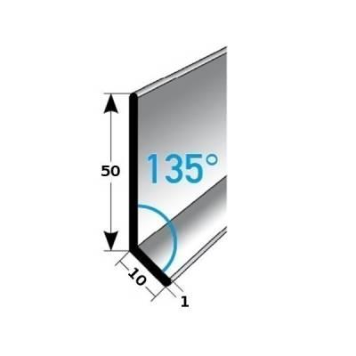 Fußleiste / Sockelleiste TYP 50 Aluminium, in verschiedenen Varianten, Winkel: 135°