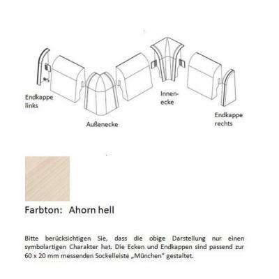 Endkappen und Ecken für MDF-Sockelleisten - Ahorn hell