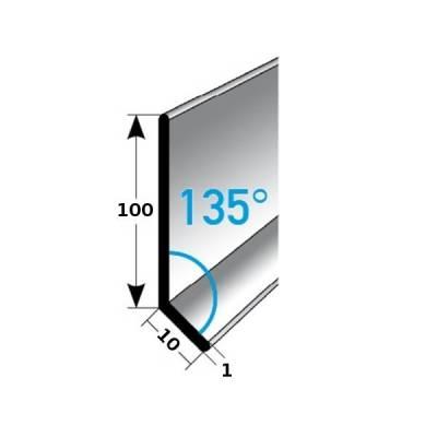 Fußleiste / Sockelleiste TYP 100 Aluminium, in verschiedenen Varianten, Winkel: 135°
