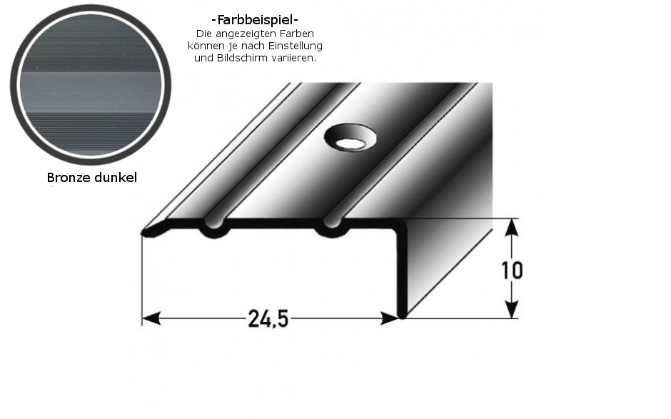 Winkelprofil ´´Salerno´´ / Winkelprofil 24,5 mm Typ: 88/89 (Aluminium eloxiert, gebohrt oder selbstklebend) -bronze dunkel-800-gebohrt-10 mm