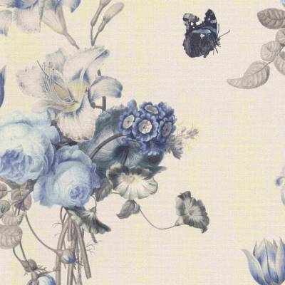 Rasch BARBARA Home Collection | 527643 | Vliestapete Blumen | 0.53 m x 10.05 m | Blau