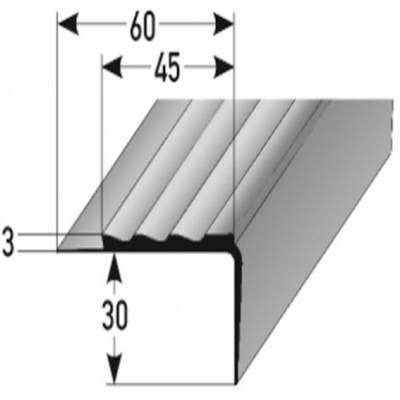 """PVC-Treppenkante """"Macao"""" PVC-Winkel für Beläge bis 3 mm, B 45 mm, H 30 mm, weiches PVC Typ 361"""