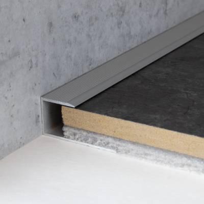 """Einschubprofil """"Bancroft"""" für Parkett, 13,3 mm Einfasshöhe, Aluminium eloxiert, gebohrt"""