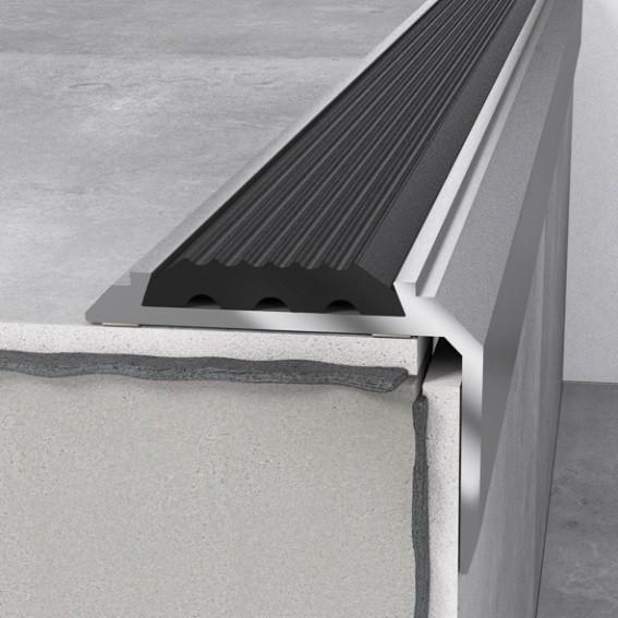 Treppenprofil 46x30 x1200mm Silber Einlage Schwarz Treppenkante Aluminium Winkel