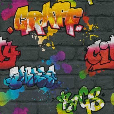 Rasch Kids & Teens III | 237801 | Papiertapete 3D Optik | 0.53 m x 10.05 m | Schwarz