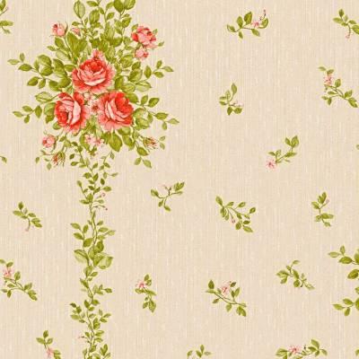 A.S. Creation Château 5 | 345001 | Vliestapete Blumen | 0.53 m x 10.05 m | Beige