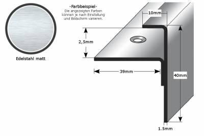 """Einschubprofil """"Tullamore"""" mit Nase, Einfasshöhen von 2,5 - 22 mm, Edelstahl,"""
