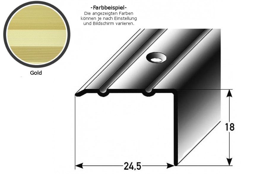 Winkelprofil ´´Salerno´´ / Winkelprofil 24,5 mm Typ: 88/89 (Aluminium eloxiert, gebohrt oder selbstklebend) -goldfarbig-800-gebohrt-18 mm