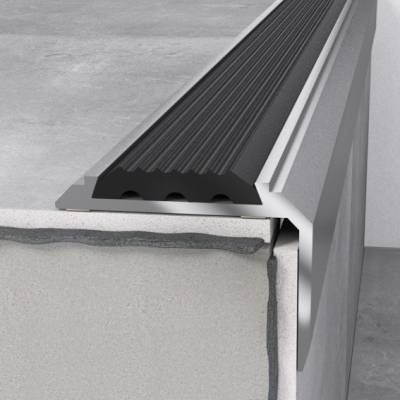 Treppenprofil 46 x 30 x 1200 mm Silber mit Einlage | Treppenkante Aluminium