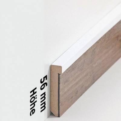 """Design-Fußleiste für Vinylboden """"Frankfurt"""" - weiß - 56 mm Höhe (MDF foliert - 726.5131) (Default)"""