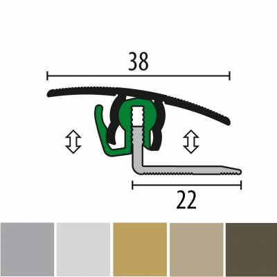 Küberit 788 FCS-718 | Übergangsprofil | Breite:38 mm | Parkettausgleich | Höhe:7-18 mm