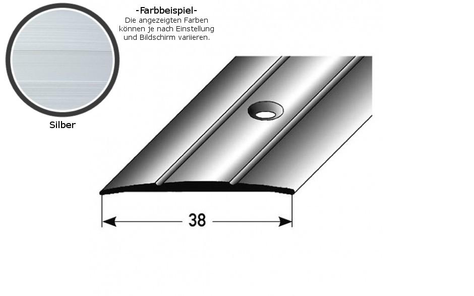 """Übergangsprofil /""""0012/"""" 38x1.8 mm aus Aluminium eloxiert-gebohrt"""