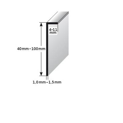 Einklebe-Sockelleiste , Höhe: 40 - 100 mm, Breite: 4 - 11 mm, silber eloxiertem Aluminium
