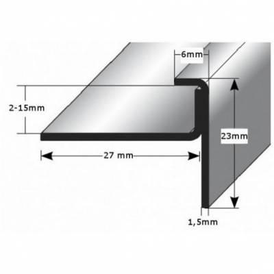 """Einschubprofil """"Claydon"""" mit Nase für Designbeläge, Einfasshöhen von 2 - 15 mm, Edelstahl matt, gebohrt (Default)"""