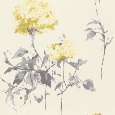 Rasch Cato | 801545 | Vliestapete Blumen | 0.53 m x 10.05 m | Gelb