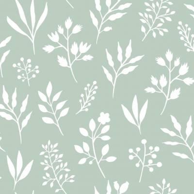 Rasch Textil Scandi Cool   139085   Vliestapete Blumenoptik   0.53 m x 10.05 m   Grün