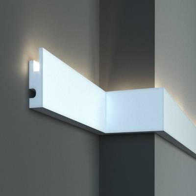 Stuckleiste | Deckenleiste | 90 mm x 40 mm | XPS | kurze Leisten | KD301 | Lichtleiste | Zierleiste