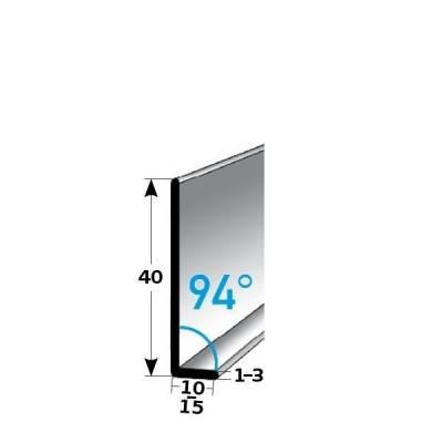 Fußleiste / Sockelleiste (TYP 40) aus Edelstahl, Höhe: 40 mm, mit verschiedenen Breiten, Materialstärken und Befestigungsarten, Winkel: 94grad