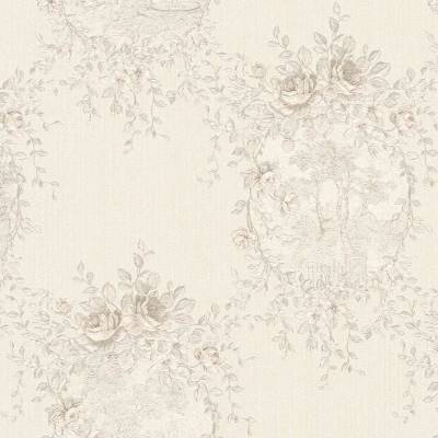 A.S. Creation Château 5 | 344995 | Vliestapete Blumen | 0.53 m x 10.05 m | Grau
