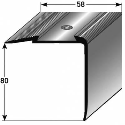 "Treppenkante ""Grava"" / Kombiwinkel / Winkelprofil 80 mm x 58 mm Aluminium eloxiert"
