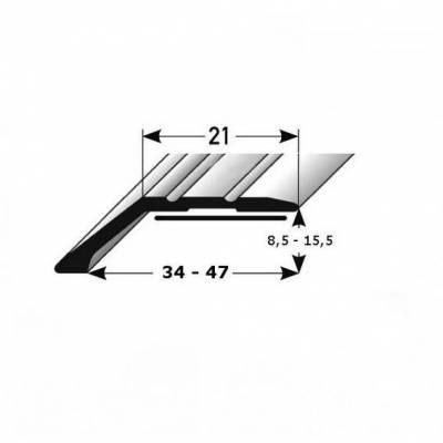 """Abschlussprofil / Abschlussleiste Laminat """"Huntsville"""", Einfasshöhe: 8.5 - 15.5 mm, Alu eloxiert"""