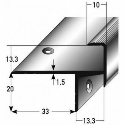 "Laminat-Parkett-Treppenkante / Winkelprofil ""Cardale"", Einfasshöhe 13,3 mm, 33 mm breit, Aluminium eloxiert, gebohrt (Default)"