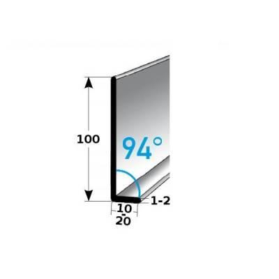 Fußleiste / Sockelleiste TYP 100 Aluminium, in verschiedenen Varianten, Winkel: 94°