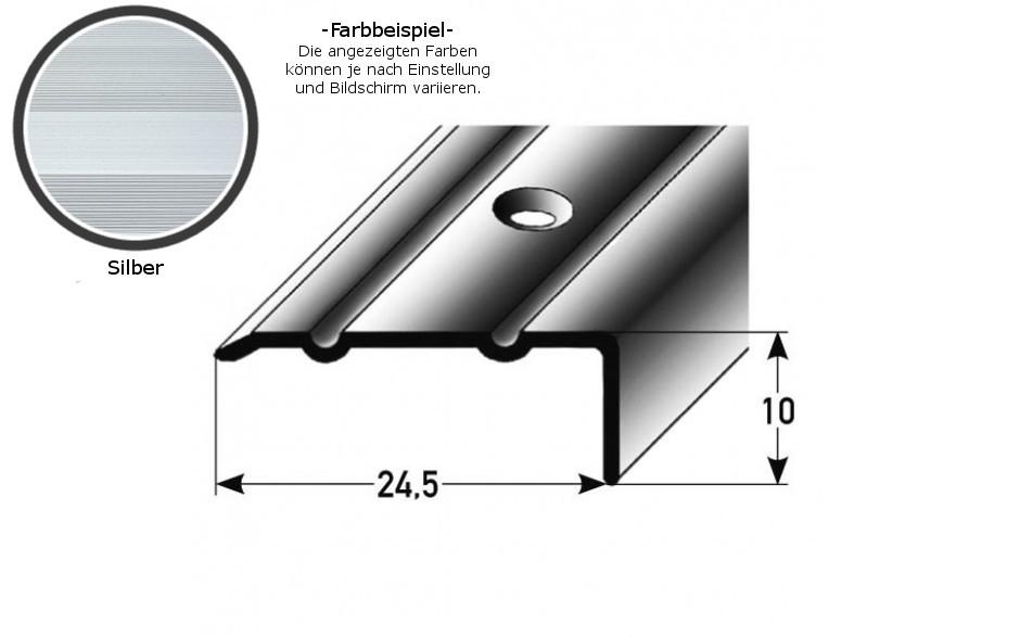 Winkelprofil ´´Salerno´´ / Winkelprofil 24,5 mm Typ: 88/89 (Aluminium eloxiert, gebohrt oder selbstklebend) -silber-800-gebohrt-10 mm