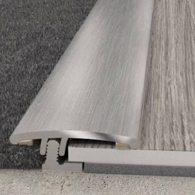 Übergangsprofil 22 x 8,27 mm Silber | Aluminiumprofil 2 in 1 gebohrt Übergangs- und Abschlussprofil