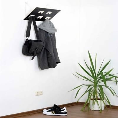 Garderobe | Garderobenrechteck mit 5 Garderobenhaken | Schwarz & Weiß