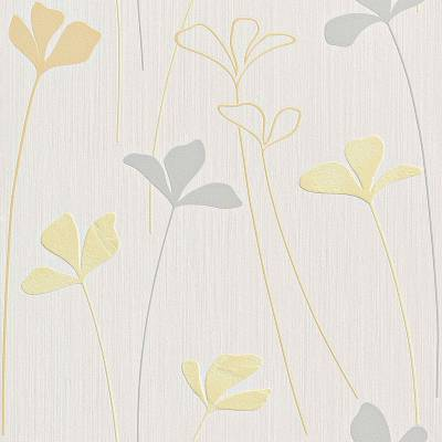 Rasch Selection | 240603 | Papiertapete Blumentapete | 0.53 m x 10.05 m | Grau