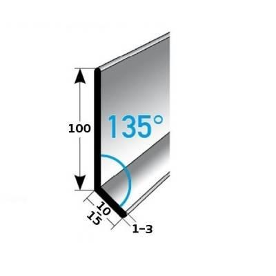 Fußleiste / Sockelleiste TYP 100 Edelstahl, Höhe: 100 mm, 135°