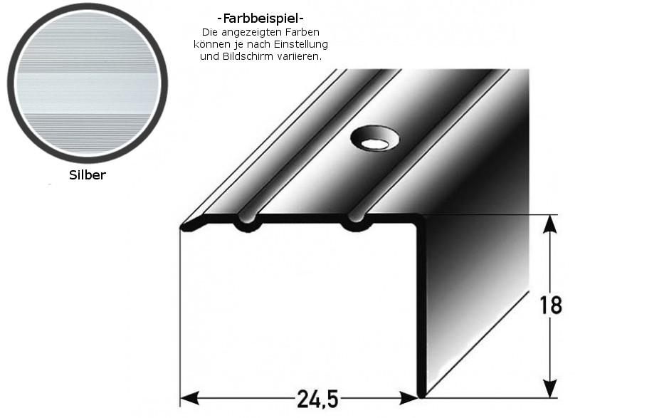 Winkelprofil ´´Salerno´´ / Winkelprofil 24,5 mm Typ: 88/89 (Aluminium eloxiert, gebohrt oder selbstklebend) -silber-800-gebohrt-18 mm