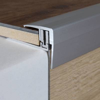 "Treppenkante für Laminat / Parkett Winkelprofil ""Altona"", H 7 x 15,5 mm, B 28 mm, Alu eloxiert Flex"