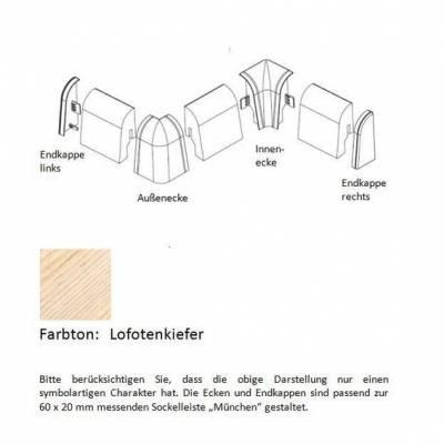 Endkappen und Ecken für MDF-Sockelleisten - Lofotenkiefer