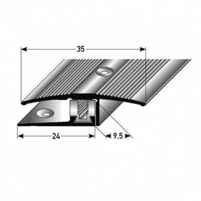 "Übergangsprofil / Übergangsschiene Laminat ""Vernon"", H 7 - 17 mm, B 35 mm, Aluminium eloxiert Flex"