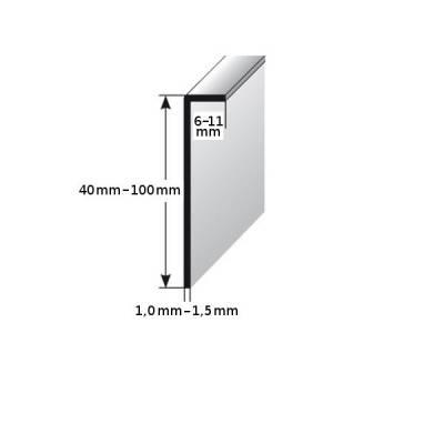 Einklebe-Sockelleiste, Höhe: 40 - 100 mm, Breite: 6 - 11 mm,Edelstahl, Typ: 452